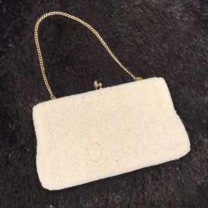 Handbags - Vintage Beaded clasp mini purse with gold chain